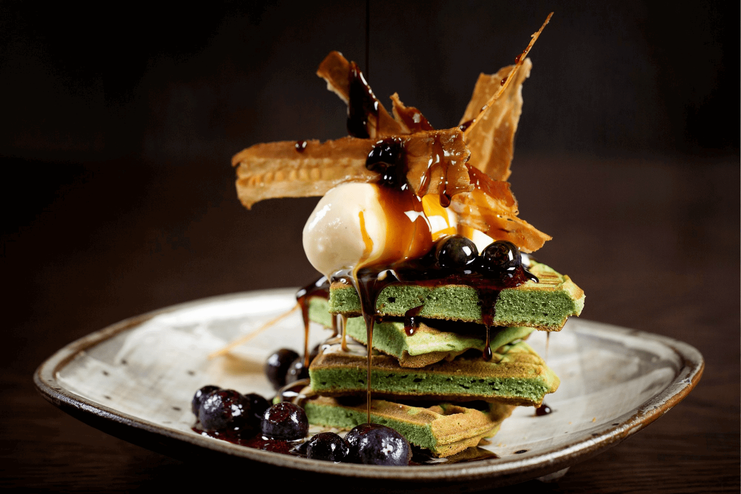 John Carey Green Tea Waffles with Blueberry & miso