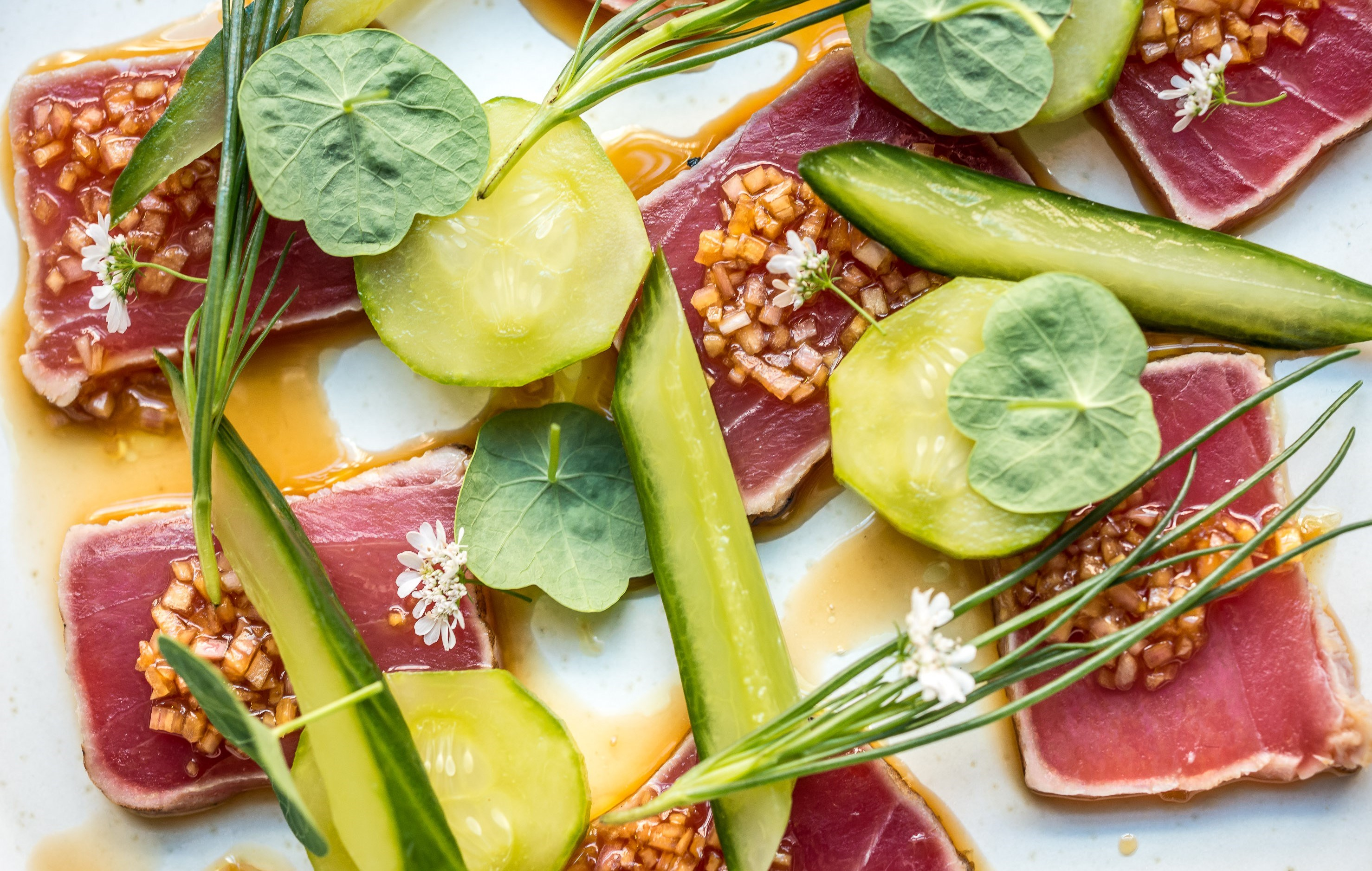 tuna tataki with pickled cucumbers and ginger vinaigrette 2 david griffen photography 505